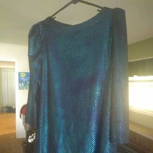 Free People Iridescent Blue Diamond Shift Dress XS